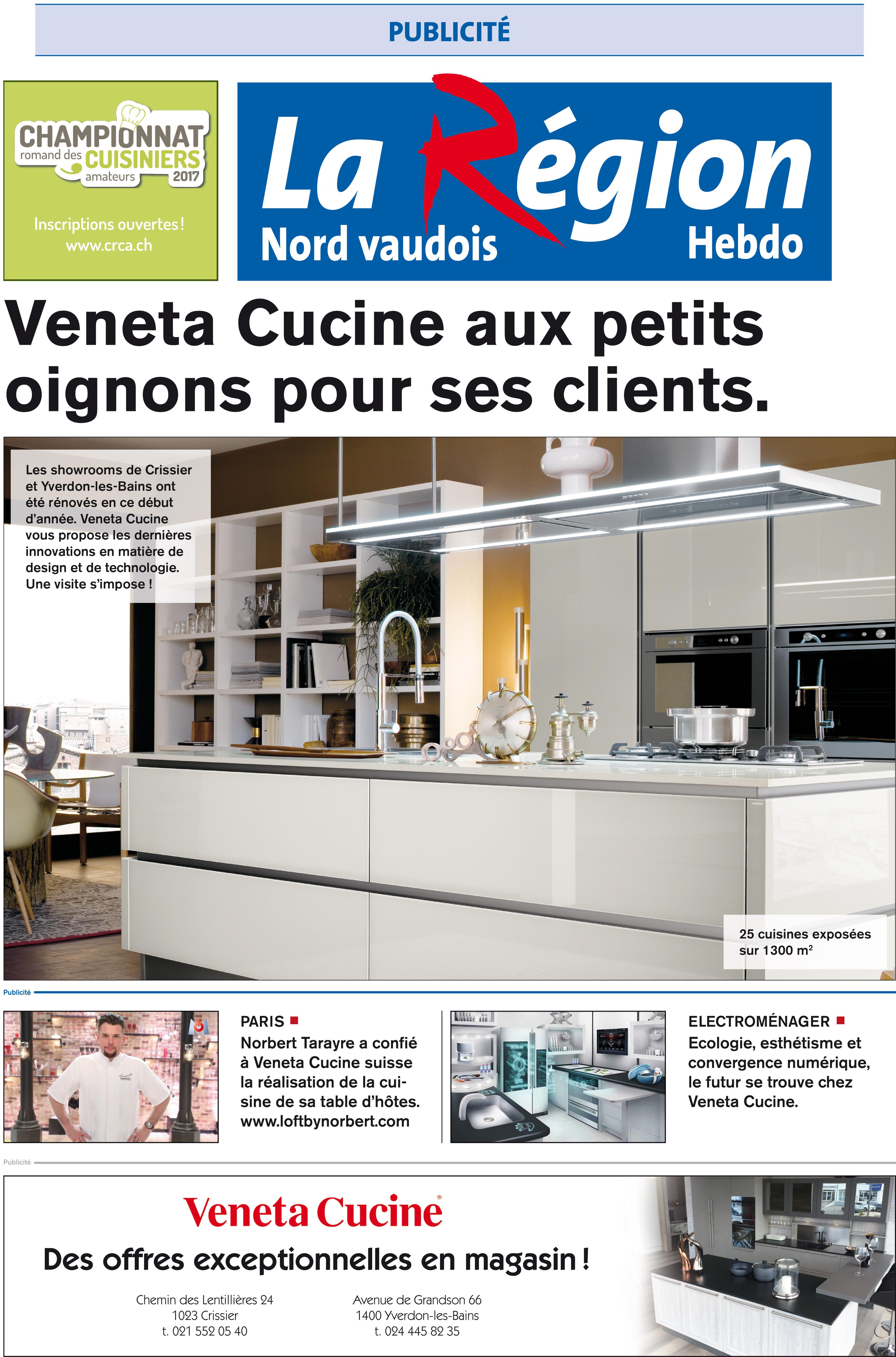 Publicit dans la r gion veneta cucine l for Agencement cuisine yverdon