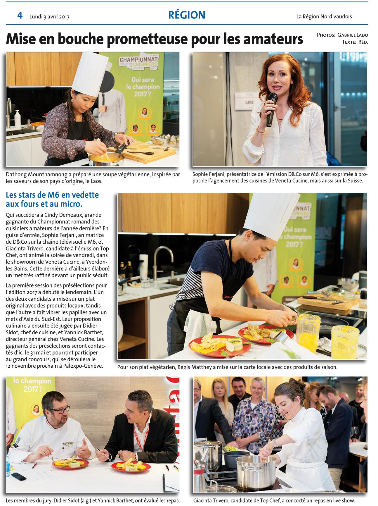 La r gion nord vaudois 03 avril 2017 veneta cucine l for Agencement cuisine yverdon